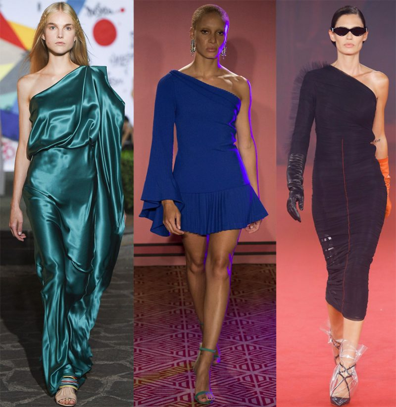 Платье на одно плечо – тренд 2019 года