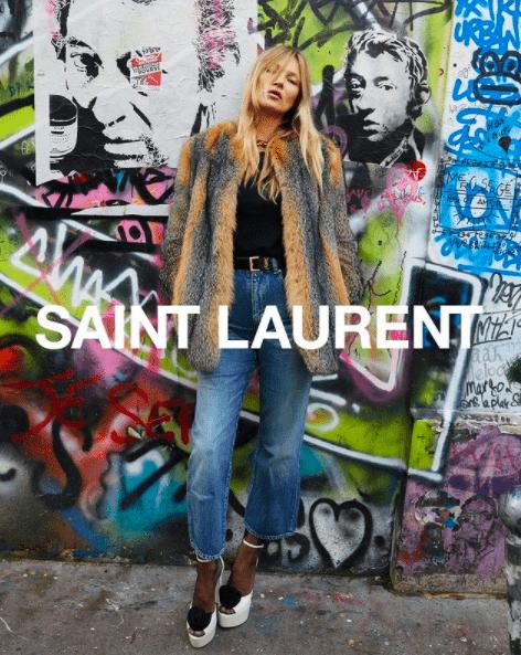 Супермодель Кейт Мосс стала лицом нового кампейна от Saint Laurent