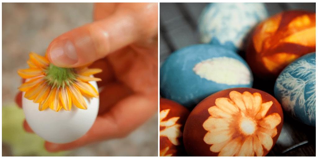 Простой метод окрашивания пасхальных яиц с узором цветка