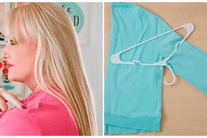 Способ №1 повесить свитер, чтобы не было выпуклостей на плечах