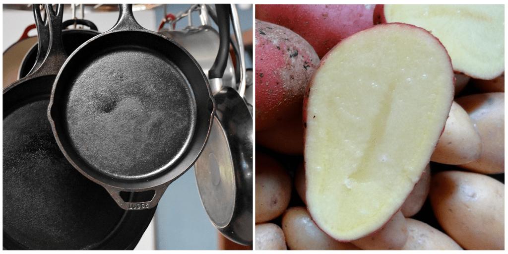 Элементарный способ очистить чугунную сковороду с помощью обычной картошки